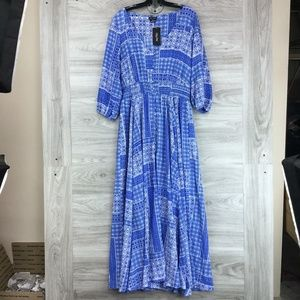 City Chic Blue China Plate A-line Maxi Dress